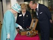 <p>Here, she presses the button to start the Enigma Code Breaking Machine, which was used at Bletchley Park during WWII, and was a forerunner to modern computers.</p>