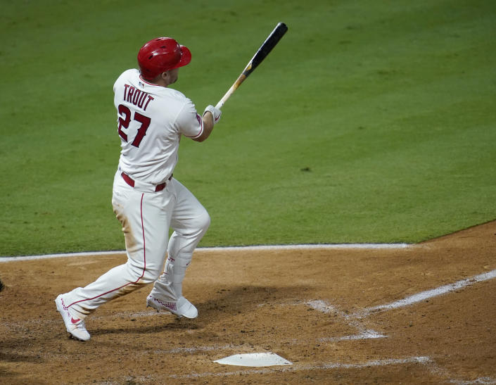 ANAHEIM, CA - SEPTEMBER 15: Mike Trout #27 of the Los Angeles Angels at bat against the Arizona Diamondbacks at Angel Stadium of Anaheim on September 15, 2020 in Anaheim, California. (Photo by John McCoy/Getty Images)