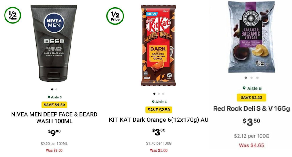Incorrectly shown prices on Woolworths app. Source: Facebook via Woolworths app