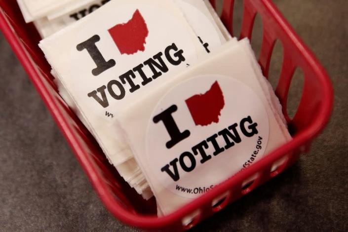 FILE PHOTO: Voting stickers are seen at the Franklin County Board of Elections in Columbus