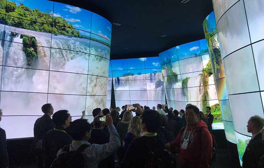 As it does every year, LG created a dazzling wall of TV screens—this time, in an undulating canyon.