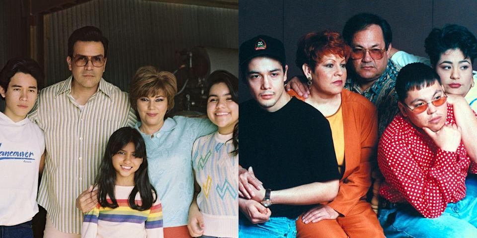 <p><strong>Left: </strong>Juan Martinez as young A.B., Ricardo Chavira as Abraham Quintanilla, Madison Taylor Baez as young Selena, Seidy López as Marcella Quintanilla, and Daniela Estrada as young Suzette in <em>Selena: The Series</em>. </p><p><strong>Right: </strong>Chris Perez, Marcella Quintanilla, Abraham Quintanilla, A.B. Quintanilla, and Suzette Quintanilla photographed in 1995 after the singer's passing. </p>