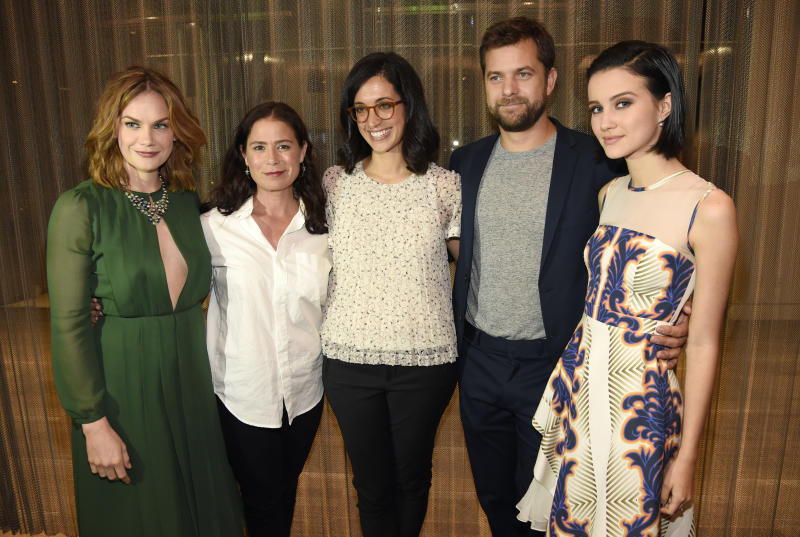 "Sarah Treem, center, executive producer of the Showtime series ""The Affair,"" poses with cast members, left to right, Ruth Wilson, Maura Tierney, Joshua Jackson and Julia Goldani Telles at a screening and panel discussion for the show at the Samuel Goldwyn Theatre on Wednesday, May 6, 2015, in Beverly Hills, Calif. (Photo by Chris Pizzello/Invision/AP)"