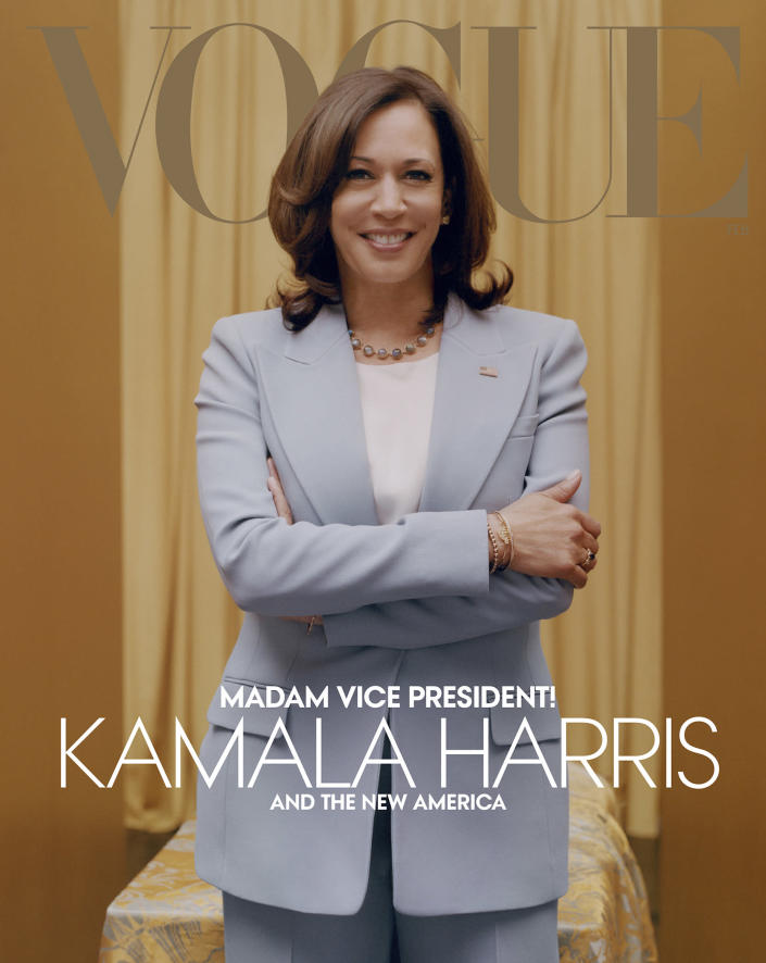 Vice President-elect Kamala Harris on the cover of Vogues' February 2021 digital issue. (Tyler Mitchell / Vogue via AP)