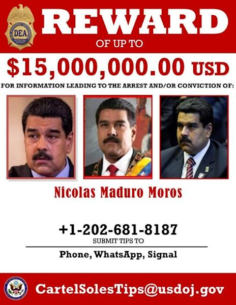 A wanted poster offering $15 million U.S. dollars for the capture of Venezuela's President Maduro is seen after being released by the U.S. Drug Enforcement Administration in Washington