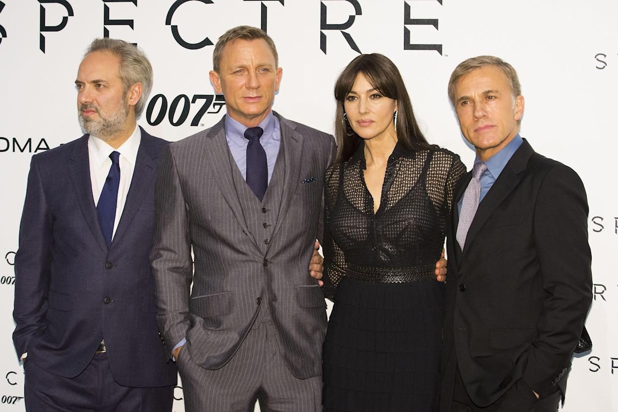 ROME, ITALY - OCTOBER 27:   Director Sam Mendes (L), actor Daniel Craig (2nd L), actress Monica Bellucci (2nd R) and actor Christoph Waltz (R) attend a premiere for 'Spectre' at Auditorium Della Conciliazione on October 27, 2015 in Rome, Italy. (Photo by Primo Barol/Anadolu Agency/Getty Images)