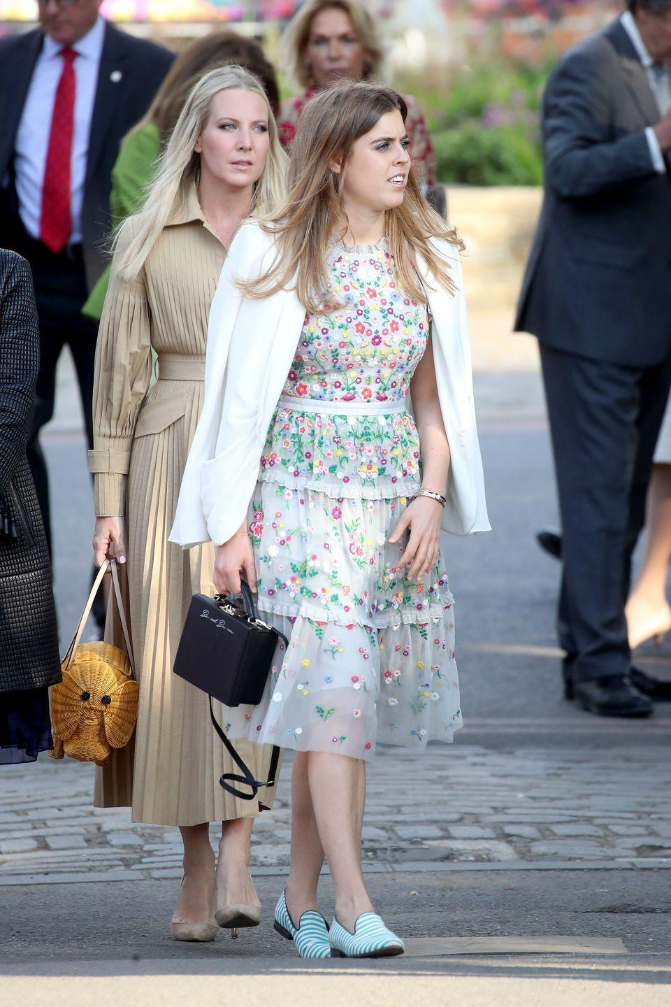 """<p>Looking like springtime herself in an adorable flowered dress for the Chelsea Flower Show in 2018, Bea carried a teeny structured handbag. What you might not have noticed was the subtle message, """"<a href=""""https://www.goodhousekeeping.com/beauty/fashion/a20871358/princess-beatrice-chelsea-flower-show/"""" rel=""""nofollow noopener"""" target=""""_blank"""" data-ylk=""""slk:Be cool Be nice"""" was embellished on the side of the bag"""" class=""""link rapid-noclick-resp"""">Be cool Be nice"""" was embellished on the side of the bag</a>, notes GoodHouskeeping.com. It's a slogan associated with <a href=""""http://www.becoolbenice.org/"""" rel=""""nofollow noopener"""" target=""""_blank"""" data-ylk=""""slk:an anti-bullying campaign"""" class=""""link rapid-noclick-resp"""">an anti-bullying campaign</a>. Or perhaps a nod to the <a href=""""https://www.goodhousekeeping.com/life/a22626563/princess-eugenie-beatrice-kate-middleton-hat-wedding/"""" rel=""""nofollow noopener"""" target=""""_blank"""" data-ylk=""""slk:bullying the princess received"""" class=""""link rapid-noclick-resp"""">bullying the princess received</a> after daring to wear her <a href=""""https://www.goodhousekeeping.com/beauty/fashion/g22700305/princess-eugenie-and-princess-beatrice-best-hats/?slide=20"""" rel=""""nofollow noopener"""" target=""""_blank"""" data-ylk=""""slk:fascinating """"octopus"""" fascinator"""" class=""""link rapid-noclick-resp"""">fascinating """"octopus"""" fascinator</a> to William and Kate's wedding?</p>"""