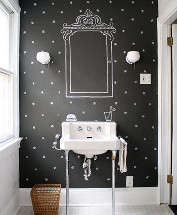 """<div class=""""caption-credit""""> Photo by: Design*Sponge</div><div class=""""caption-title"""">Chalkboard Polka Dots</div>Chalkboard paint is another huge trend! All you need? Some chalkboard paint and a few sticks of chalk. You can use colored chalk, but I prefer this black and white look. So classic and crafty!"""
