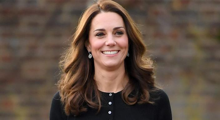 The Duchess of Cambridge appears to have taken a liking to button front cardigans, and one of her favourites is now available in more colours. (Getty Images)