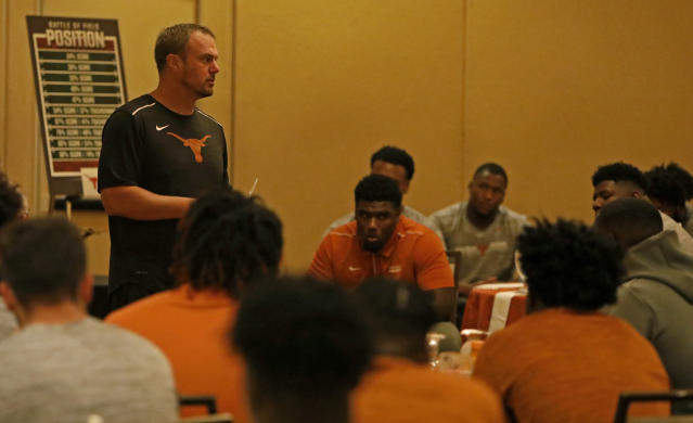 Texas Longhorns head coach Tom Herman talks with the team before the game with the LSU Tigers Saturday Sept. 7, 2019 at the team hotel in Austin, Tx. ( Photo by Edward A. Ornelas )