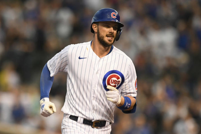 Chicago Cubs' Kris Bryant rounds the bases after hitting a solo home run during the fourth inning of a baseball game against the Cleveland Indians Tuesday, June 22, 2021, in Chicago. (AP Photo/Paul Beaty)