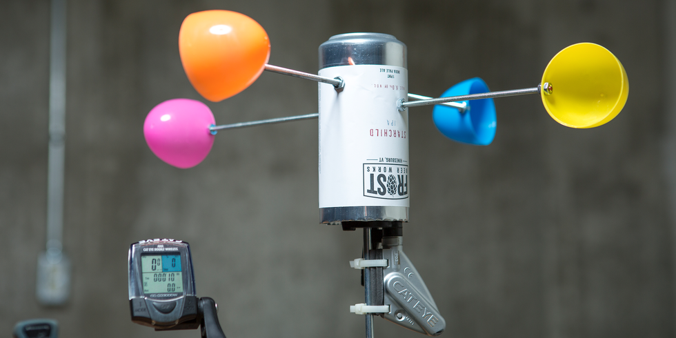 <p>If you want to power your home using wind, first you need to know how much wind you have. Skip the expense of buying an anemometer and build your own using an aluminum can, plastic eggs, metal rods, two dowels, and a bike speedometer. You'll need a cordless drill, a thread/tap set, a utility knife or scissors, and an Allen key set.</p>