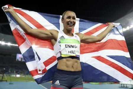 2016 Rio Olympics - Athletics - Final - Women's Heptathlon 800m - Olympic Stadium - Rio de Janeiro, Brazil - 13/08/2016. Jessica Ennis-Hill (GBR) of Britain celebrates winning the silver medal. REUTERS/Phil Noble