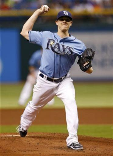 Tampa Bay Rays starting pitcher Jeremy Hellickson throws during the second inning of a baseball game against the Detroit Tigers Sunday, June 30, 2013, in St. Petersburg, Fla. (AP Photo/Mike Carlson)