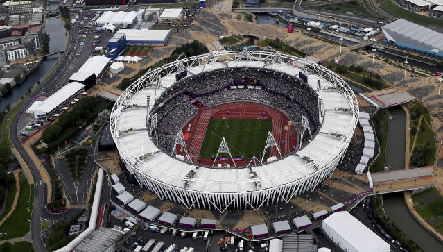 FILE - This Aug. 3, 2012, aerial file photo shows the Olympic Stadium at Olympic Park, in London. A person familiar with the plans tells The Associated Press that Major League Baseball is working to finalize a two-game series between the New York Yankees and Boston Red Sox at Londons Olympic Stadium on June 29-30 in 2019, the sports first regular-season games in Europe. The Red Sox have the option of having both games be Red Sox home games, the person familiar with the planning said. The person spoke on condition of anonymity Monday, March 19, 2018 because no announcement had been made. (AP Photo/Jeff J Mitchell, File)