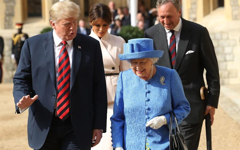 President Trump and the Queen at Windsor Castle together last year - PA