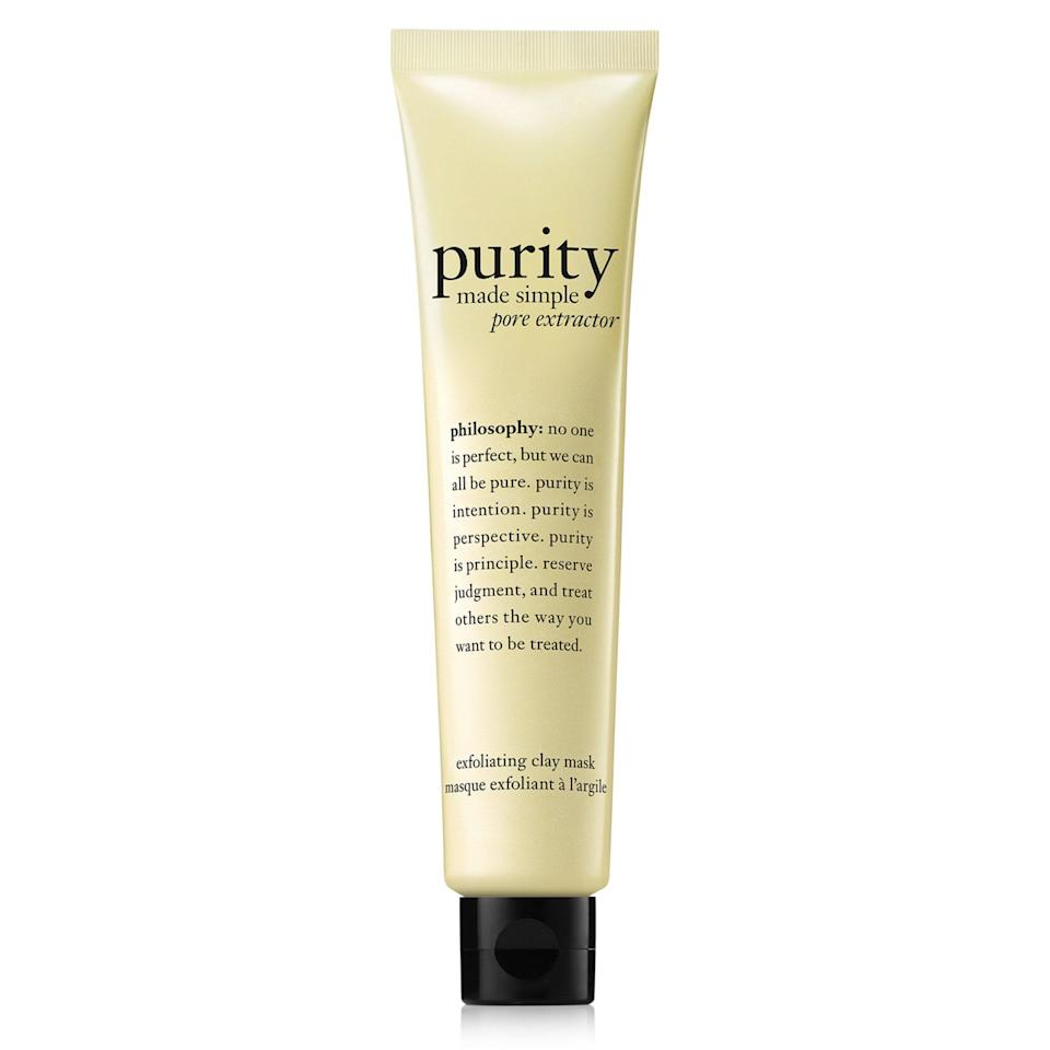"""<p><a href=""""https://www.allure.com/review/philosophy-purity-made-simple-pore-extractor-exfoliating-clay-mask?mbid=synd_yahoo_rss"""" rel=""""nofollow noopener"""" target=""""_blank"""" data-ylk=""""slk:Philosophy's Purity Made Simple Pore Exfoliating Clay Mask"""" class=""""link rapid-noclick-resp"""">Philosophy's Purity Made Simple Pore Exfoliating Clay Mask</a> — a 2017 Best of Beauty winner — contains salicylic acid to gently exfoliate skin and ward off breakouts. Another plus? It just takes five minutes to work its magic.</p> <p><strong>$35</strong> (<a href=""""https://www.amazon.com/Philosophy-Purity-Simple-Extractor-Exfoliating/dp/B06XKM4KZ8"""" rel=""""nofollow noopener"""" target=""""_blank"""" data-ylk=""""slk:Shop Now"""" class=""""link rapid-noclick-resp"""">Shop Now</a>)</p>"""