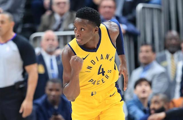Victor Oladipo of the Indiana Pacers celebrates against the Philadelphia 76ers at Bankers Life Fieldhouse (AFP Photo/ANDY LYONS)