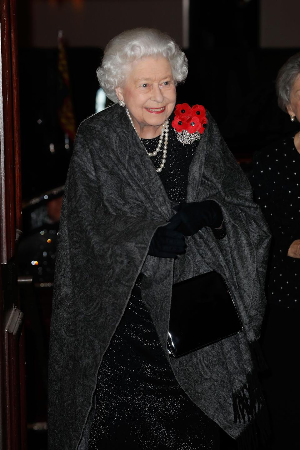 The Queen arrives at the Royal Festival of Remembrance (Getty)