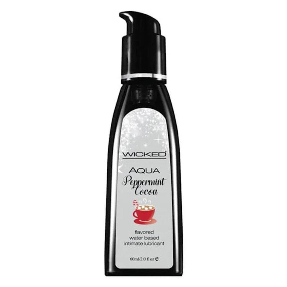 """Looking to get cozy and toasty under the covers? Wicked Sensuals has a peppermint cocoa-flavored lubricant that'll warm you right up. This water-based lube is safe to use with condoms and toys, and is sweetened with Stevia. Its formula doesn't contain any parabens or propylene glycol, and its ingredients are fully <a href=""""https://www.glamour.com/story/hailey-bieber-faves-faves?mbid=synd_yahoo_rss"""" rel=""""nofollow noopener"""" target=""""_blank"""" data-ylk=""""slk:vegan"""" class=""""link rapid-noclick-resp"""">vegan</a>. It easily wipes off, and it never leaves behind a weird aftertaste. $12, Good Vibrations. <a href=""""https://www.goodvibes.com/s/sex-toys/p/GV15343/wicked-sensual-care/wicked-sensuals-flavored-lubricants"""" rel=""""nofollow noopener"""" target=""""_blank"""" data-ylk=""""slk:Get it now!"""" class=""""link rapid-noclick-resp"""">Get it now!</a>"""