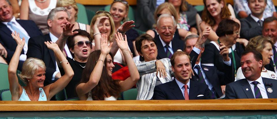 <p>Duchess Kate tries to get William to do the wave, to no avail. </p>