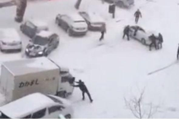 Snowy slope causes Russia car crashes
