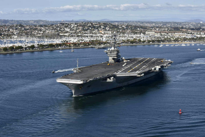 The aircraft carrier USS Theodore Roosevelt (CVN 71) leaves its San Diego homeport Jan. 17, 2020. (U.S. Navy photo by Mass Communication Specialist Seaman Dylan Lavin via Getty Images)