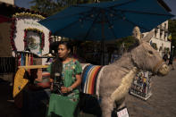 Photographer Carolina Hernandez, 39, sits for a photo next to a stuffed donkey, a photo prop named George, at her kiosk on Olvera Street in Los Angeles, Friday, June 4, 2021. As Latinos in California have experienced disproportionately worse outcomes from COVID-19, so too has Olvera Street. The shops lining the narrow brick walkway rely heavily on participants at monthly cultural celebrations, downtown office workers dining out, school field trips and Dodger baseball fans loading up on Mexican food before or after games. But the coronavirus killed tourism, kept office workers and pupils at home, cancelled events and kept fans from sporting events. (AP Photo/Jae C. Hong)