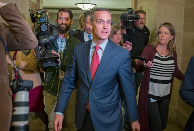 Former Trump campaign manager Corey Lewandowski is surrounded by members of the media as he leaves a House committee meeting at the U.S. Capitol in March. (Photo: Tasos Katopodis/Getty Images)