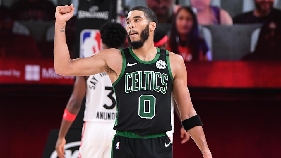 Jayson Tatum, pictured here in action during Game 7 between the Boston Celtics and Toronto Raptors.