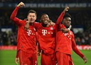 Bayern Munich players celebrate in their 3-0 romp against Chelsea in London in February (AFP Photo/Glyn KIRK )