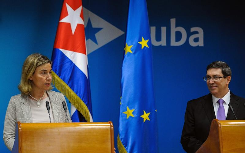 High Representative of the European Union for Foreign Affairs Federica Mogherini (L) and Cuban Minister of Foreign Affairs Bruno Rodriguez attend a press conference in Havana on March 11, 2016 (AFP Photo/Yamil Lage)