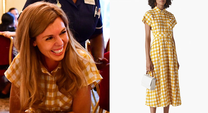 Carrie just wore a summer-ready gingham dress from Whistles [Photo: @10DowningStreet/Press Association Images/ John Lewis]