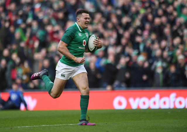 Rugby Union - Six Nations Championship - Ireland vs Wales - Aviva Stadium, Dublin, Republic of Ireland - February 24, 2018 Ireland's Jacob Stockdale scores their fifth try REUTERS/Clodagh Kilcoyne