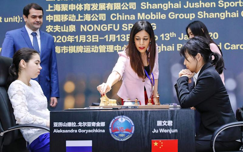 Shohreh Bayat became one of the most prominent Iranian women in international chess after she refereed the Women's World Chess Championship in Shanghai - AFP
