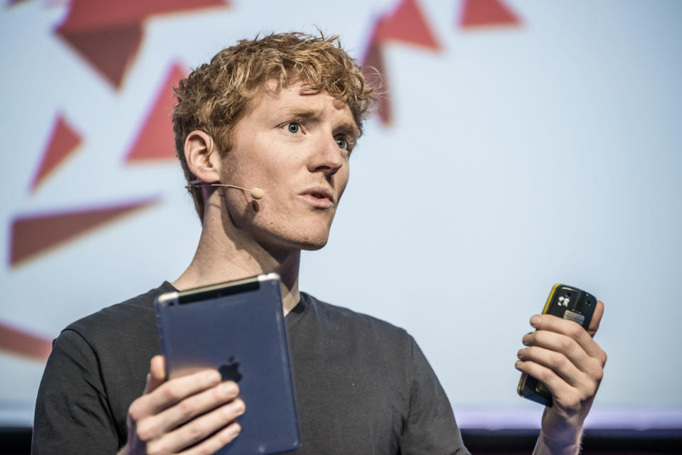 PATRICK COLLISON, Co-founder and CEO at Stripe, speaks at a keynote during the third day of the annual Mobile World Congress, one of the most important events for mobile technologies and a launching pad for smartphones, future technologies, devices, and peripherals. The 2016 edition runs under the over-arching theme of 'Mobile is everything' expanding the MWC to cover every aspevt of mobile. (Photo by Matthias Oesterle/Corbis via Getty Images)