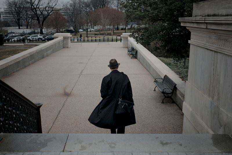 White House legislative director Eric Ueland leaves the Capitol after the impeachment trial in Washington, D.C., on Jan. 25, 2020. | Gabriella Demczuk for TIME