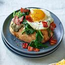 <p>Top baked potatoes with fried eggs, pesto, spinach and bacon for a loaded baked potato that's perfect for an easy dinner or hearty brunch. Omit the bacon for a vegetarian version that's just as delicious.</p>