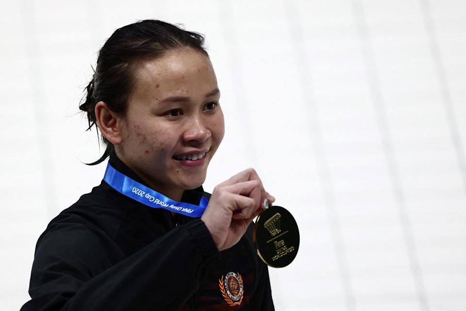 Pandelela shows her gold medal after the women's 10m platform final at the Fina Diving World Cup and test event for the Tokyo 2020 Olympic Games, at the Tokyo Aquatics Centre May 5, 2021. ― AFP pic