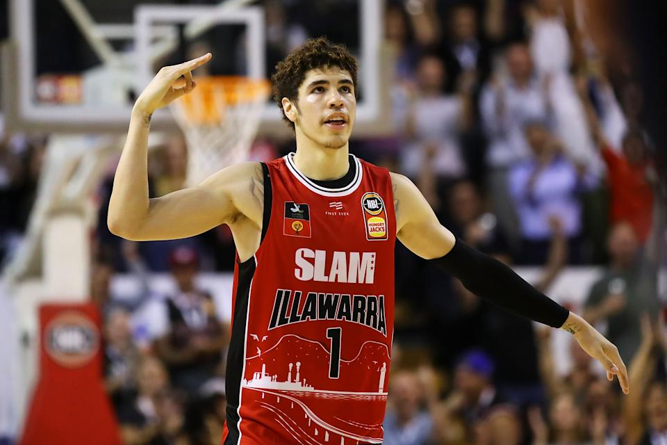 LaMelo Ball after hitting a 3-pointer for the Illawarra Hawks.