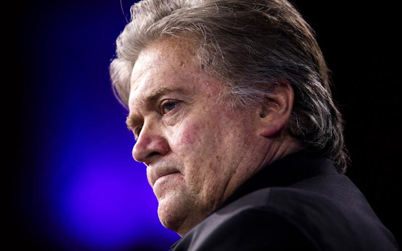 "White House Chief Strategist Steve Bannon reportedly believes a ""deep state"" is working against Mr Trump - Credit: EPA"
