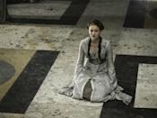 <p>By Season 2, Sansa was wearing the same style, but subtly inching back toward the greys and blues she wore when she lived at Winterfell-maybe this was her silent way of saying she was still a Stark, no matter how much she pretended to want to be a <del>Lannister</del> Baratheon. </p>