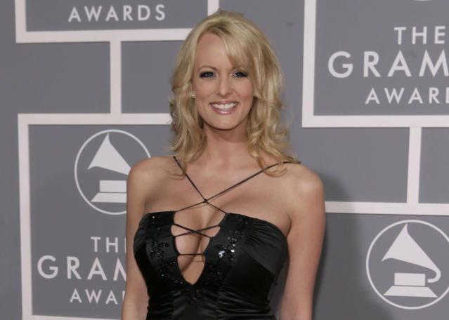 Stormy Daniels arrives for the 49th Annual Grammy Awards in Los Angeles, Feb. 11, 2007. (AP Photo/Matt Sayles)