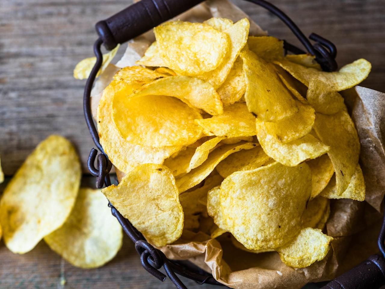 """<p>""""Because we live in a particularly warm and humid climate, our refrigerators are one of the few places that remain consistently cool and dry, making them a perfect spot to store your potato chips, a food that's very prone to getting stale. When refrigerated, potato chips stay crisp and don't get soggy since they have little exposure to everyday moisture. To take it to the next level, you could even freeze potato chips if you wanted too, since most of the moisture is taken out of the potatoes during the dehydration process so there's little to not water left to freeze them over in those low temperatures."""" <em>– Vijayudu Veena, executive chef of Kaya at </em><a href=""""https://www.thesetaihotels.com/"""" target=""""_blank""""><em>The Setai, Miami Beach</em></a></p>"""