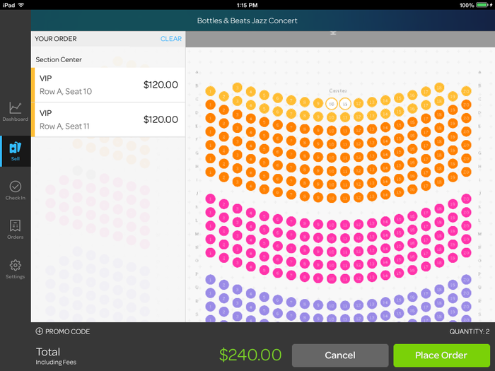 The online ticket-ordering interface of Eventbrite.