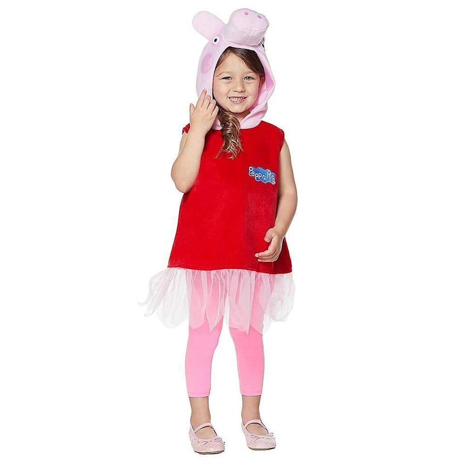 """<p><strong>Spirit Halloween</strong></p><p>spirithalloween.com</p><p><strong>$26.99</strong></p><p><a href=""""https://go.redirectingat.com?id=74968X1596630&url=https%3A%2F%2Fwww.spirithalloween.com%2Fproduct%2Ftoddler-peppa-the-pig-costume-peppa-pig%2F116144.uts&sref=https%3A%2F%2Fwww.bestproducts.com%2Flifestyle%2Fnews%2Fg2996%2Fcute-halloween-costumes-for-toddlers%2F"""" rel=""""nofollow noopener"""" target=""""_blank"""" data-ylk=""""slk:Shop Now"""" class=""""link rapid-noclick-resp"""">Shop Now</a></p><p>Oinking like a pig is probably discouraged on an average day for your toddler, but for Halloween, a few nose honks in a Peppa Pig costume seems to be fitting! This precious pink pig costume comes with a tutu dress, piggy headpieces, and pants.</p>"""