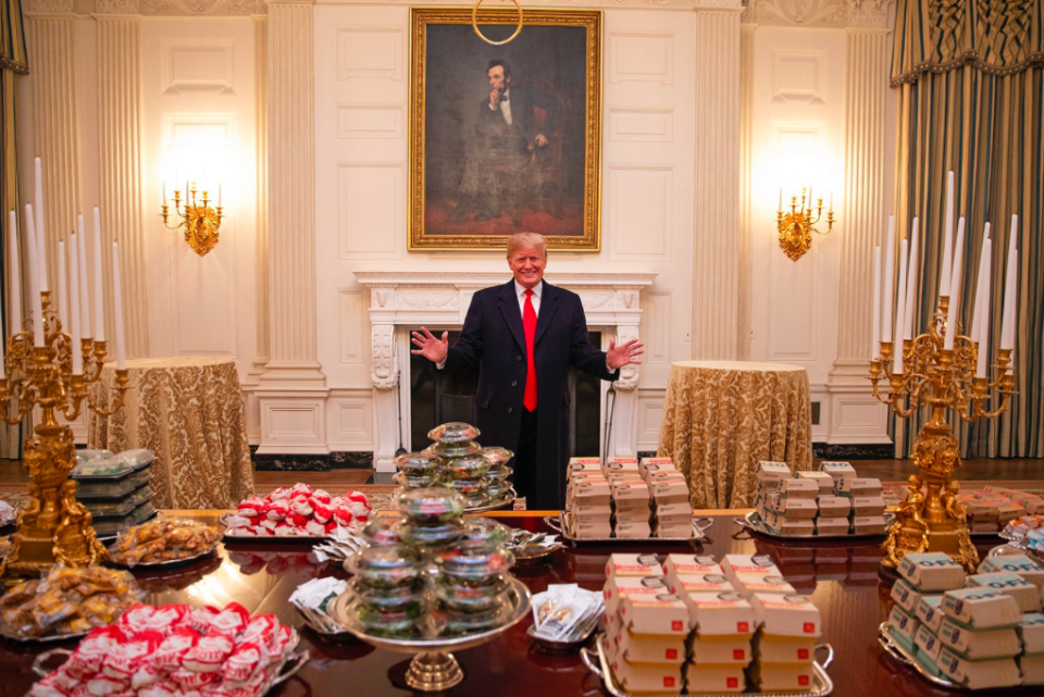 Donald Trump presents a feast of burgers, fries and pizzas at the White House (Picture: The White House)