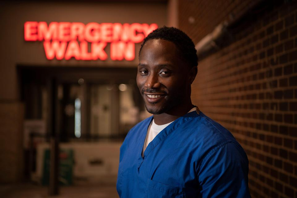 Richie Clerge outside of Hackensack University Medical Center on Friday, February 26, 2021. Clerge is a clerical associate at the E.R. and has been making life better for trauma patients in his department by leaving notes for some of the people he encounters.