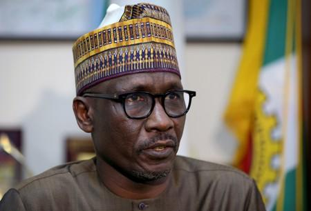The new head of NNPC, Mele Kyari, speaks during an interview with Reuters in Abuja