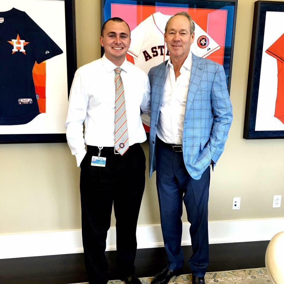 Kyle McLaughlin and Houston Astros owner Jim Crane.